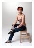 sexy Jeans und Seide - sitting  down