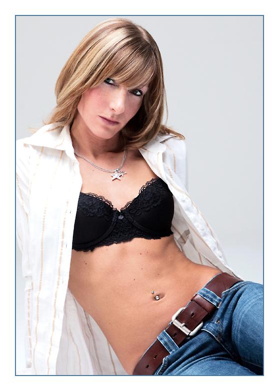 black bra with white shirt