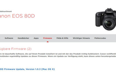 Neue Firmware für Canon EOS 80D