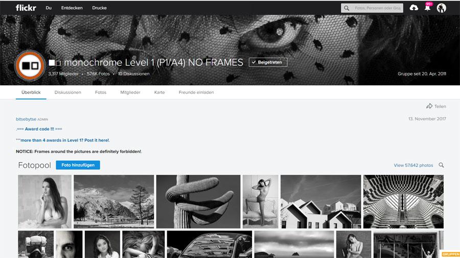 Erfreulich: Portrait als Titelfoto einer Flickr-Gruppe